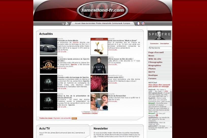 Page d'accueil site James Bond 007