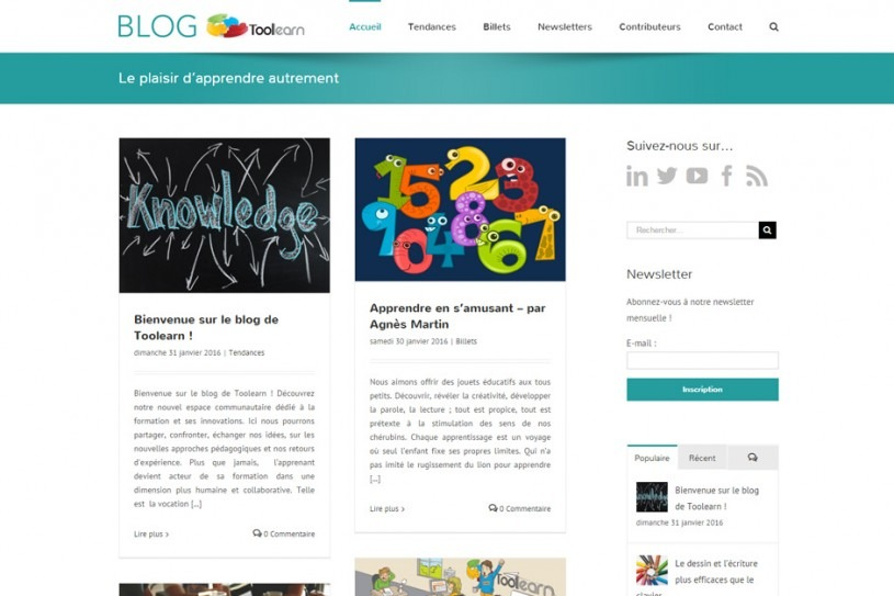 Site Internet du Blog de Toolearn
