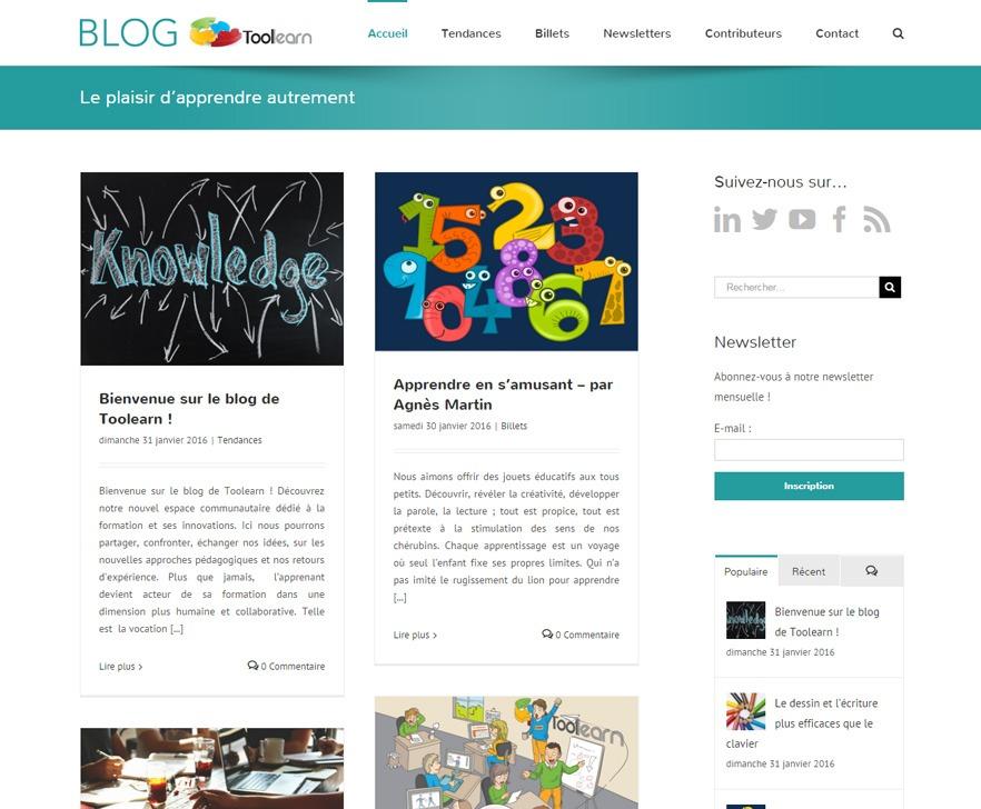 Site Internet Blog de Toolearn