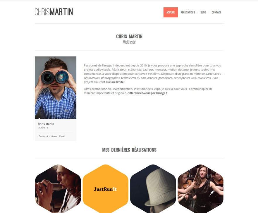 Site Internet de Chris Martin vidéaste