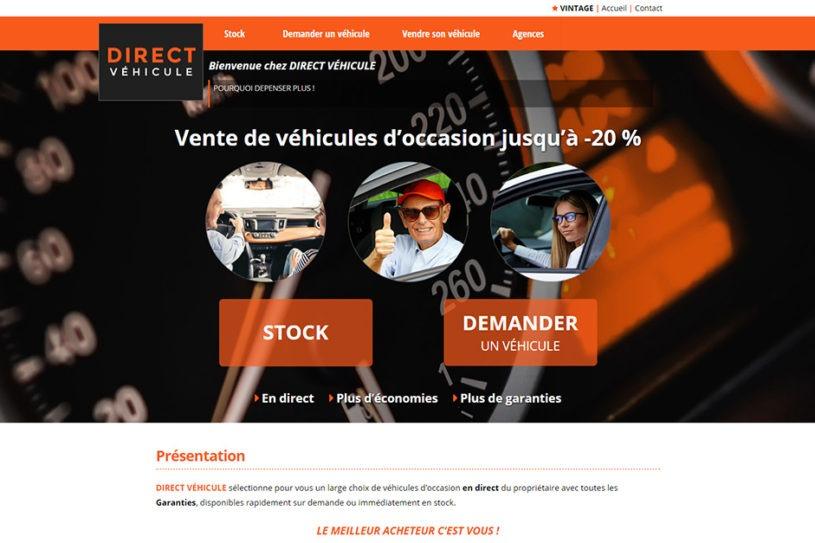 Site web de Direct Véhicule - Une