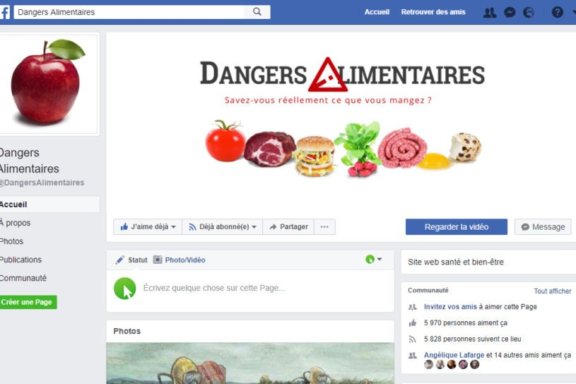 Page Facebook - Dangers Alimentaires