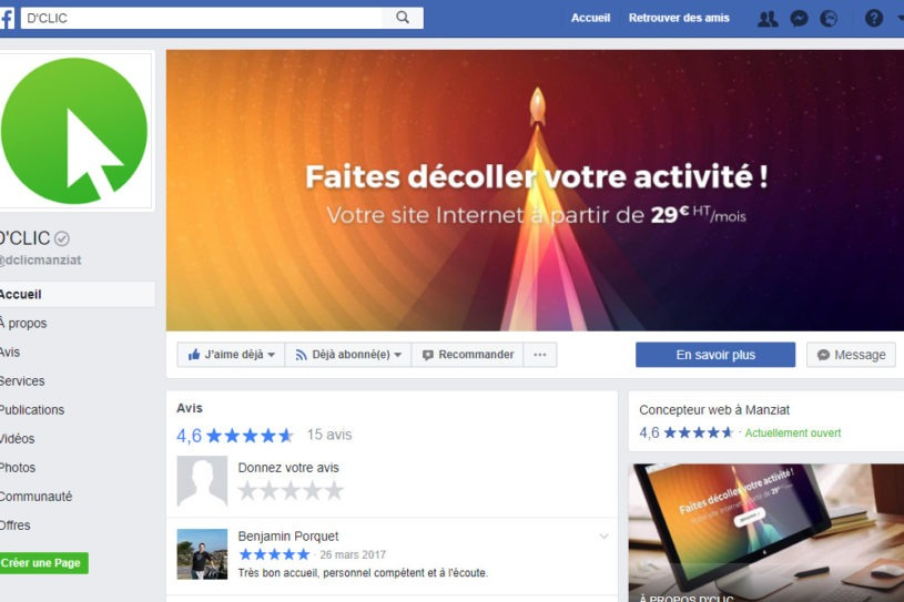 Page Facebook - D'CLIC Informatique