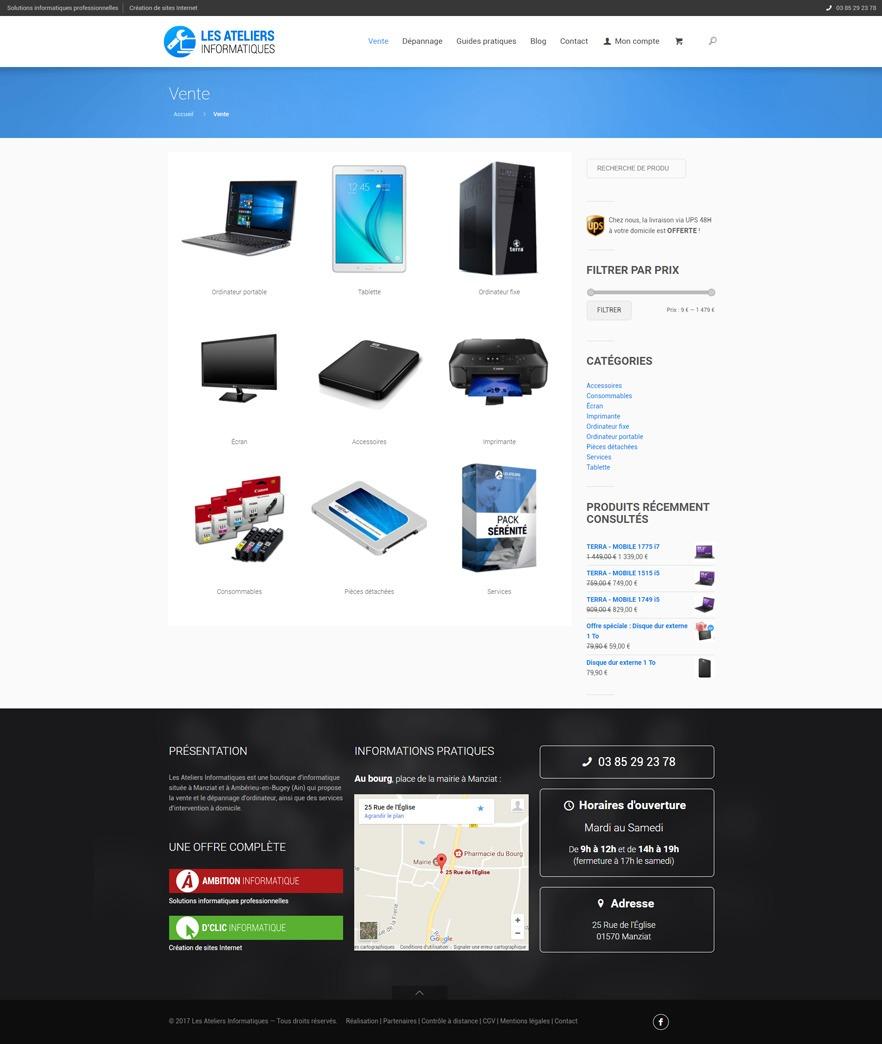 Site Les Ateliers Informatiques - Produits