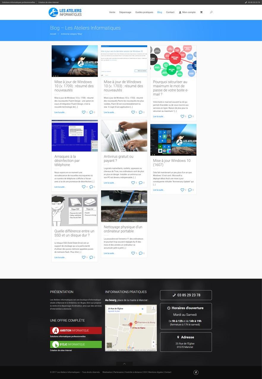 Site Les Ateliers Informatiques - Blog