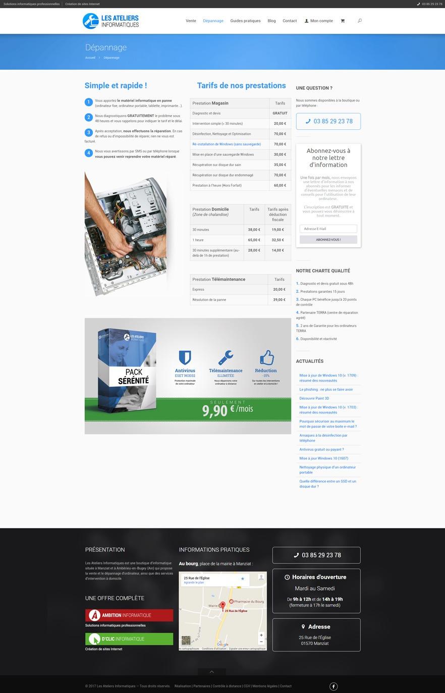 Site Les Ateliers Informatiques - Dépannage