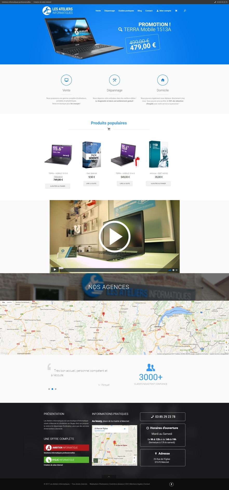 Site Les Ateliers Informatiques - Accueil